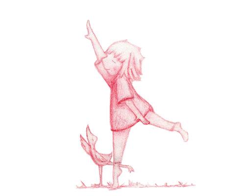 Girl and Bird Sketch